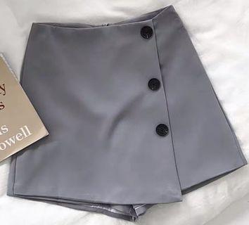 百搭高腰纯色短裙裤裙