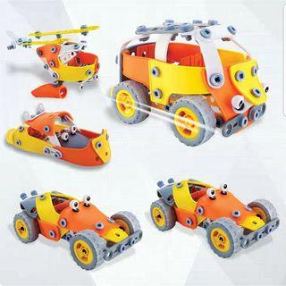 (D) 5in1 Buildable Interchangeable Car Airplane Aeroplane Trucks Helicopters Motorcycle Vehicles Transport Educational Puzzle Toy Set