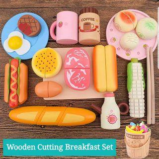 Wooden Magnetic Cutting Breakfast Set Fruits Vegetables Cooking Kitchen Educational Toy