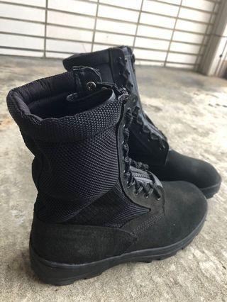 透氣黑色長筒靴