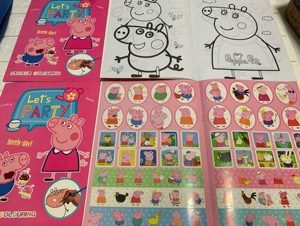 🚚 Instock A4 peppa pig coloring and stickers book brand new book -$4 , set w crayon -$4.90