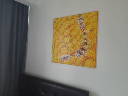 Textured painting on canvas (farmers in the field)