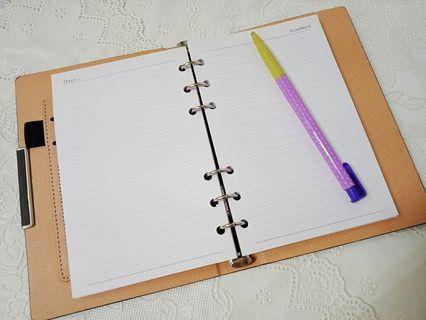 🚚 商務辦公活頁筆記本 6孔 活頁芯 可自由換內頁紙 仿皮質