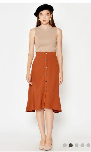 🚚 Loveandbravery Danisha Button Down Skirt Burnt Orange