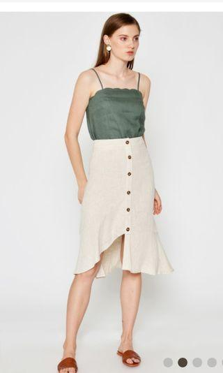 Loveandbravery Gretta Linen Scallop Top Olive