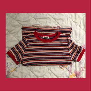 🚚 🍒 Red striped retro tshirt