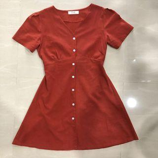 Button down linen dress