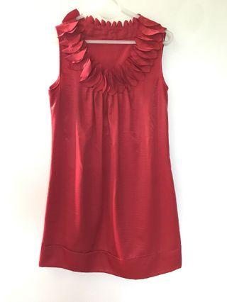 Red silky cocktail dress