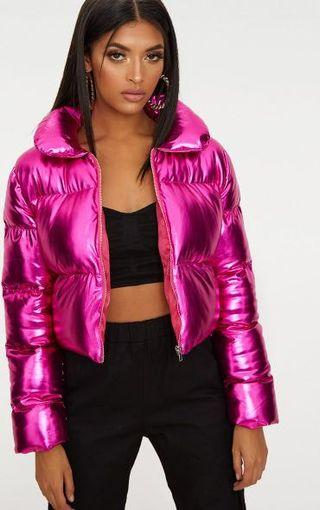 Pretty little thing hot pink metallic cropped puffer jacket