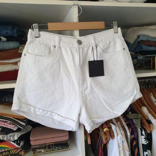 Reiley white high waisted denim shorts