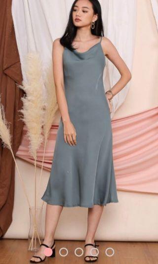 Supergurl Serena Cowl Dress Sage Green