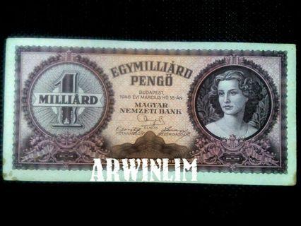 1946 hungary 1 billion (Milliard) banknotes