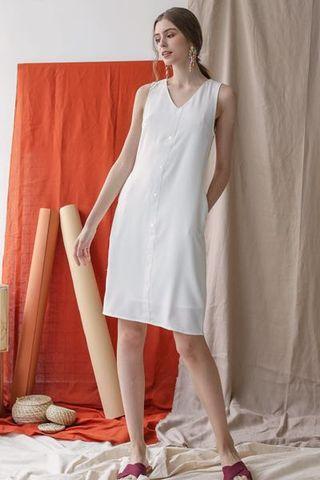 TTR Lumi Button Dress in white