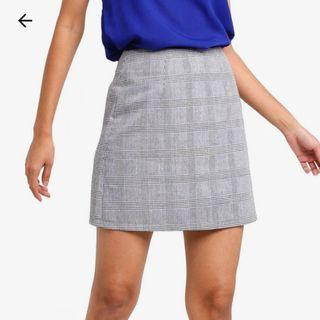 Zalora Basic Grey Mini Checked Skirt