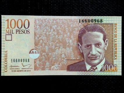2015 COLOMBIA 1000 Pesos UNC BANKNOTE