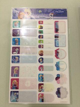Frozen Reward Sticker and Waterproof Name Sticker ($2.50 each)