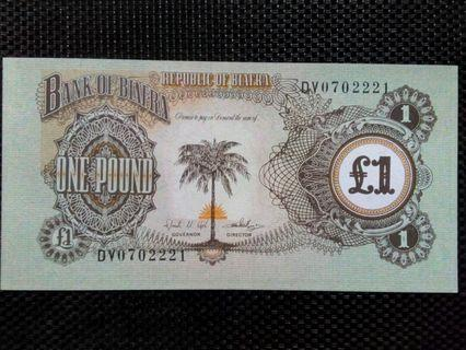 1968 - 69 BIAFRA (AFRICA) 1 POUND UNC BANKNOTE