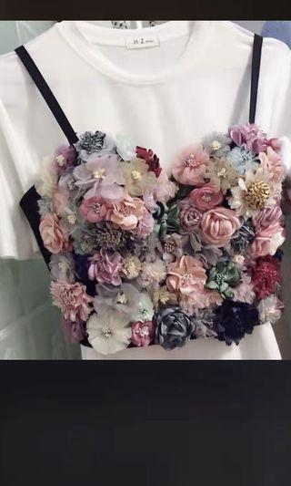 Handmade Floral Appliqué Bustier top silk flowers