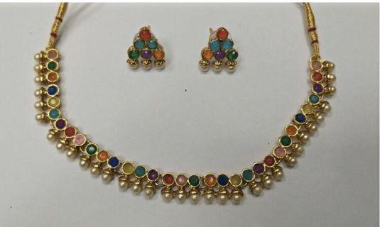 Multi colour Polki pearl necklace set