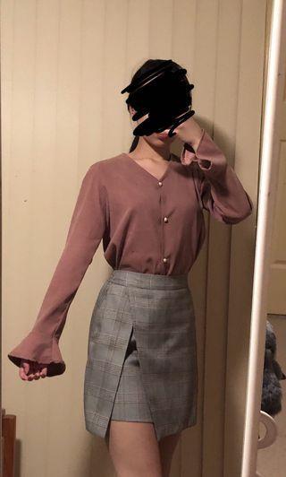 Korean Pink Suede Blouse