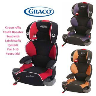 [AUTHENTIC] Ready Stock! Brand New in Box Graco Affix ISOFIX Youth Highback Booster Car Seat with Latch System for Young Children Big Kid 3-10 Years Old