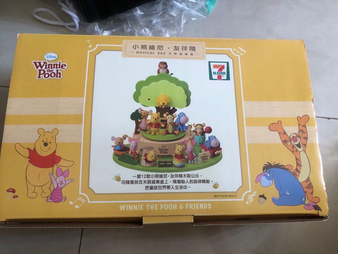 7-11 小熊維尼友件隨木製音樂盒