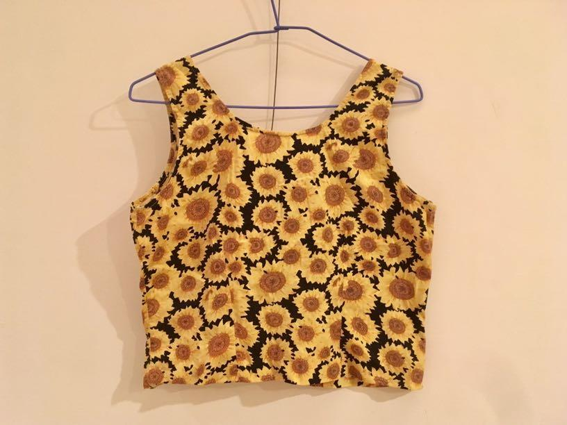 復古太陽花襯衫無袖小可愛