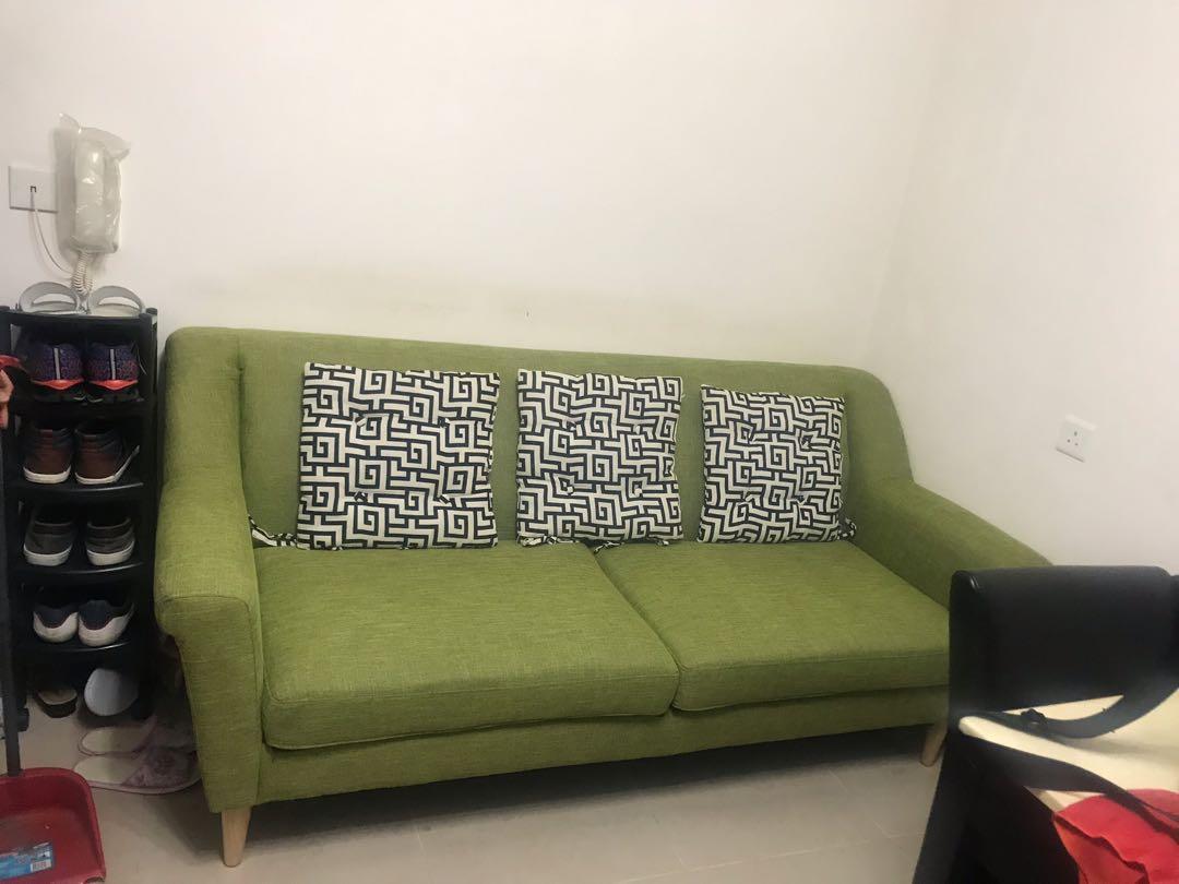 蘋果綠三座沙發