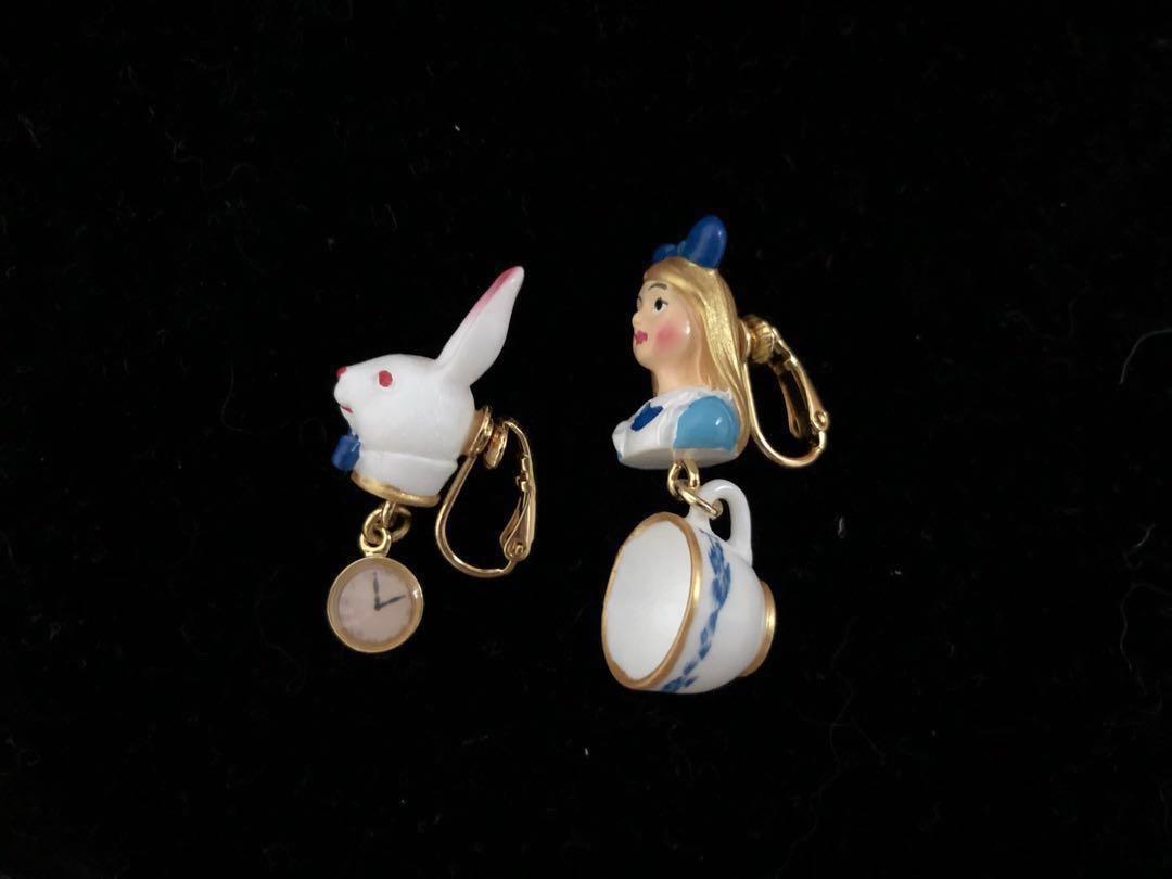 絕版 n2 愛麗絲 兔子 耳環 (夾款)