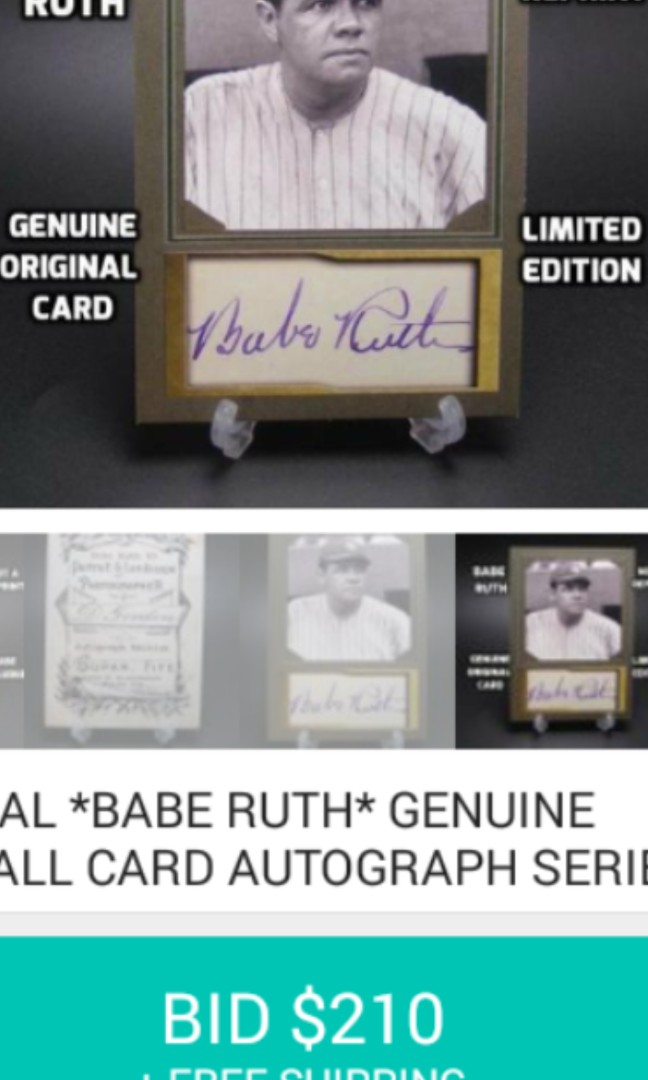 Babe Ruth baseball card. Open to negotiate. Make offer.