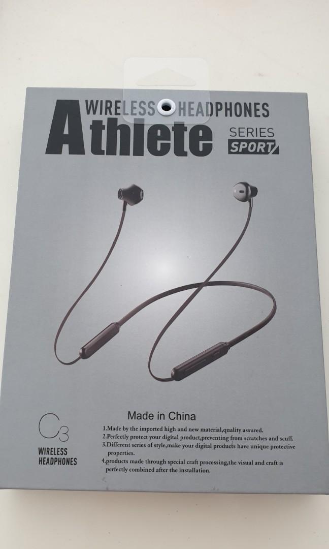 BNIB- Wireless Bluetooth Headphones Athlete C3 Sport Series