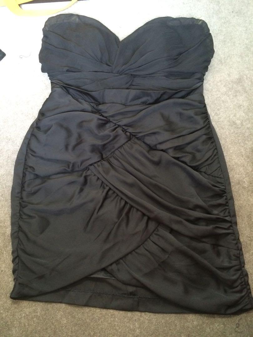 BNWT Bardot black crossover strapless cocktail dress size 14