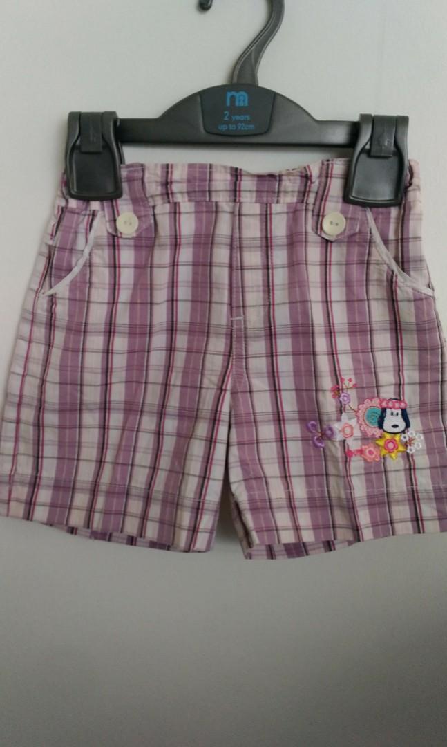 Celana Pendek kotak ungu anak perempuan