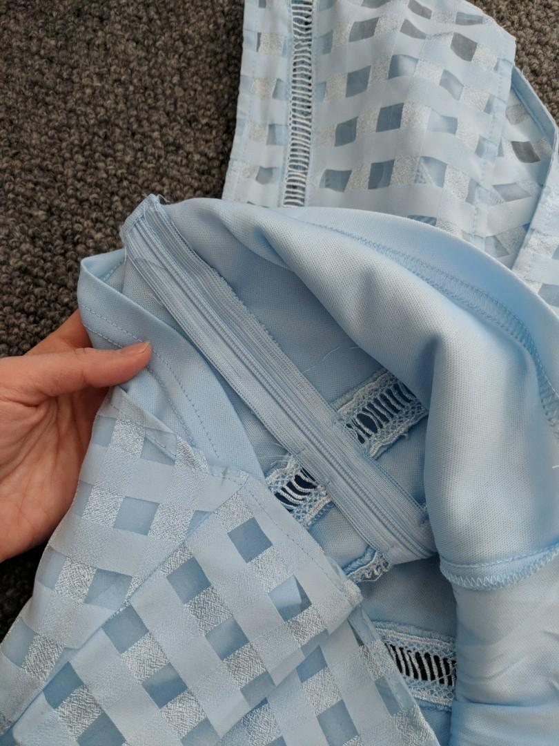 Dressabelle - baby blue Peplum top with cut outs - size asian S (approx AU XS)