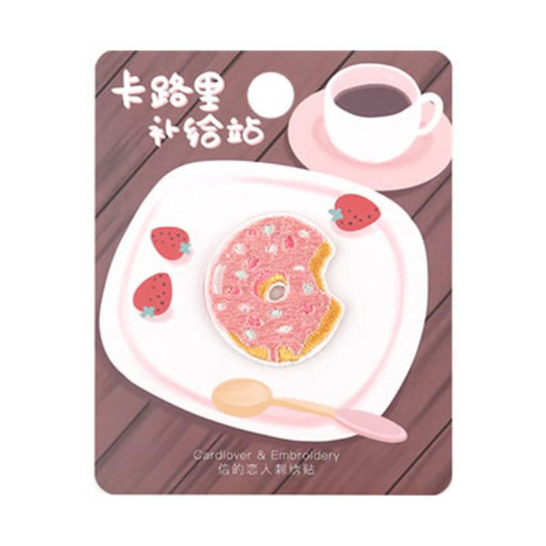 [Instock] Food Station [Donut] Embroidered Sticker & Iron-On Patch