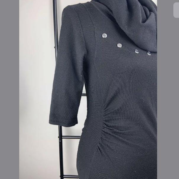 Karen Millen sz 3/XS-S black knit asymmetric dress cowl designer smart casual