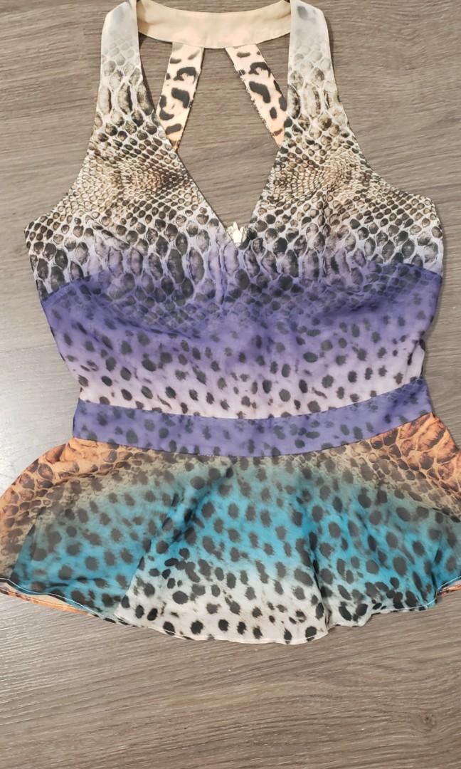 Marciano Leopard and Snake Print Halter Peplum Top