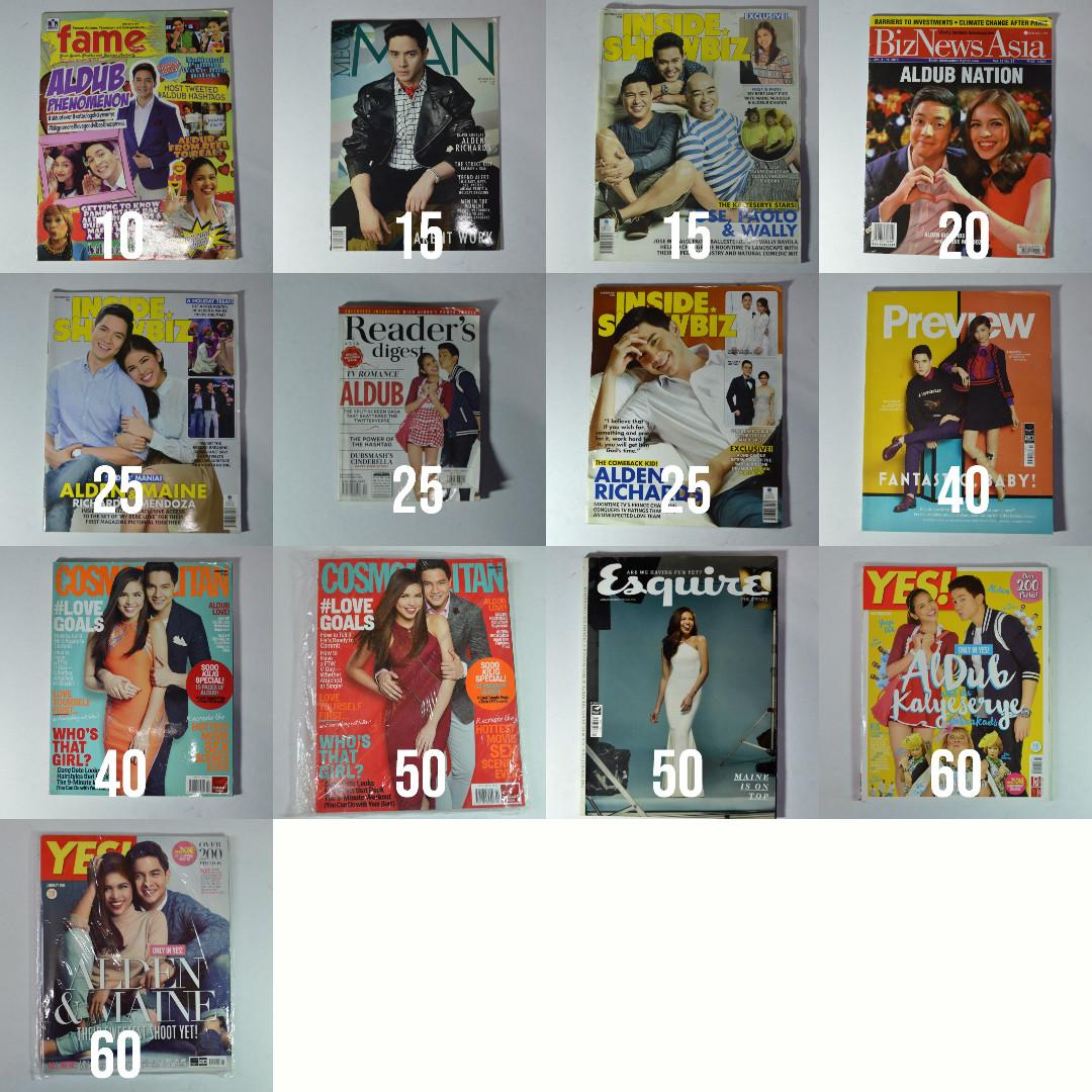 preloved magazines   alden richards, maine mendoza, jowapao, aldub on the cover! get all for 420!