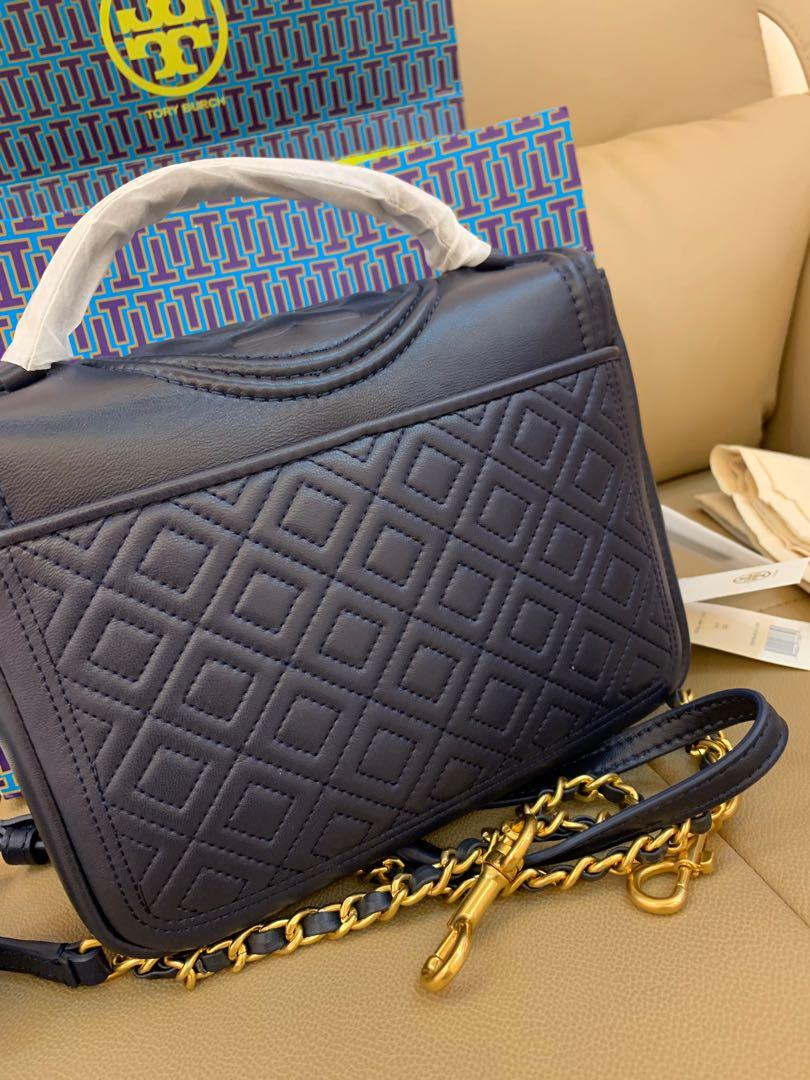 Ready Stock Authentic Tory Burch top handle Fleming sling bag in navy