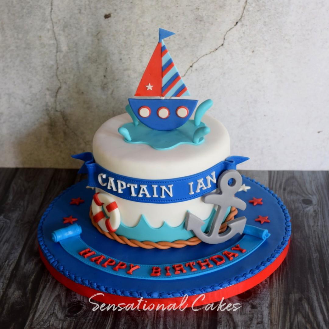 Miraculous Sailboat Anchor Sea Theme Children Boy Birthday 3D Customied Cake Personalised Birthday Cards Sponlily Jamesorg