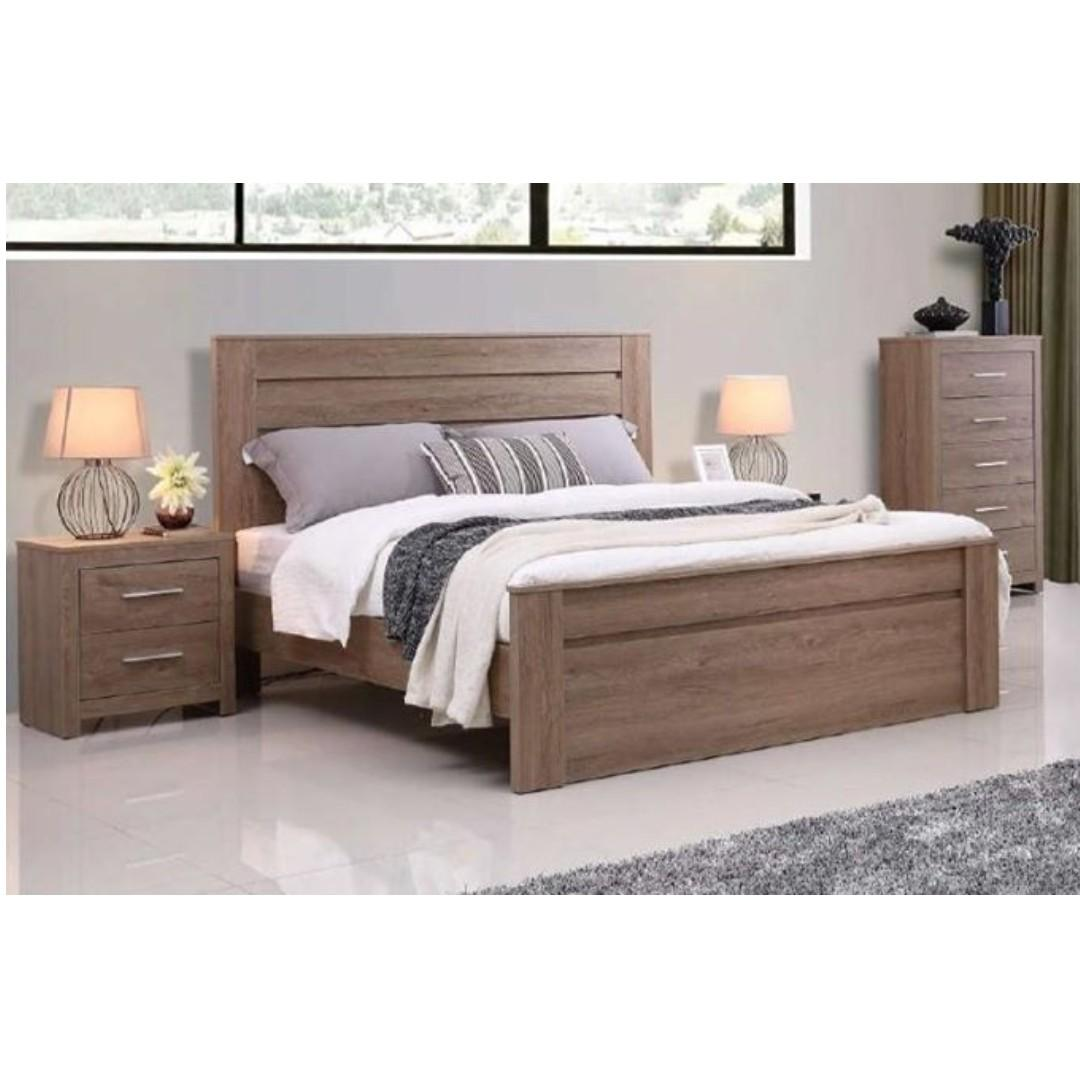 Selling brand new bedroom suit package (one bed, one chest, two bed side table)  at $670