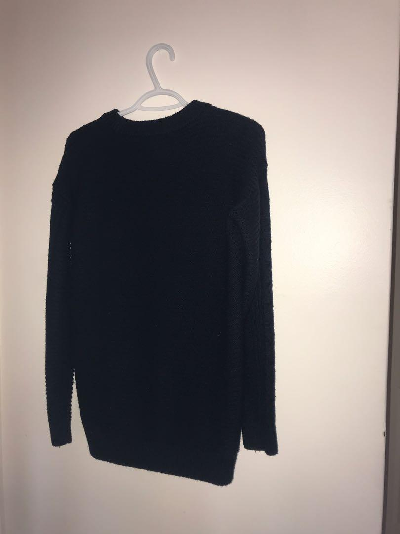 UNIQLO Navy Cable Knit Long-Sleeve Dress in Size XS