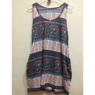 紫色圖騰民俗風洋裝 無袖背心 連身裙 無袖洋裝 purple totem folk style dress