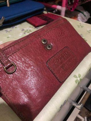auth fossil leather wallet