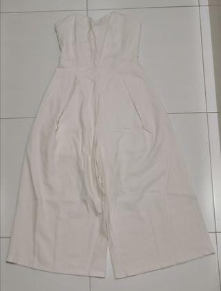 Sweetheart midi jumpsuit in white