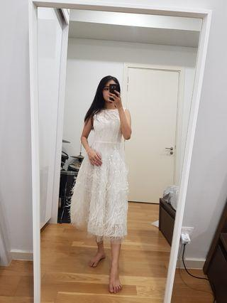 (Sale 4 for RM260) feather white midi rom dress evening