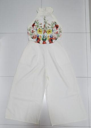 Floral high neck jumpsuit in white