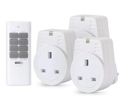 🚚 (E2468) Lunvon 12 Programmable Channels 1000 Watt 3 Outlets 1 Remote Wireless Remote Control Sockets Electrical Plug Outlet Switch, Light, Household Appliances, Operating Range Up To 30 Meter /100 Foot, Whitev