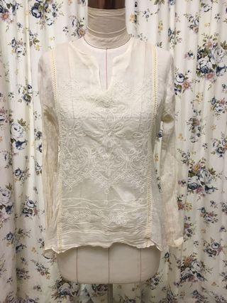 🚚 細緻棉質蕾絲上衣(米白色S號)
