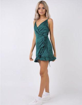 Princess Polly green wrap dress